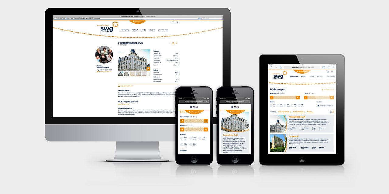 Die neue Website mit komplett überarbeiteter Wohnungssuche
