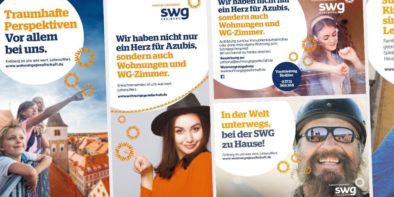 Weiterentwicklung des Keyvisuals der SWG Freiberg in Printanwendungen