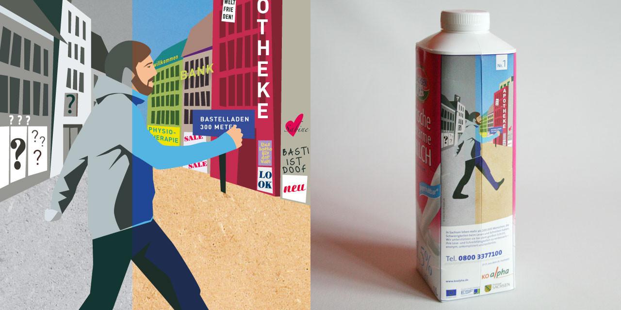 Food-Koop mit Sachsenmilch - die Botschaft landet in den Kühlschränken von Analphabeten. Wichtig: Auch ohne Text verständlich.