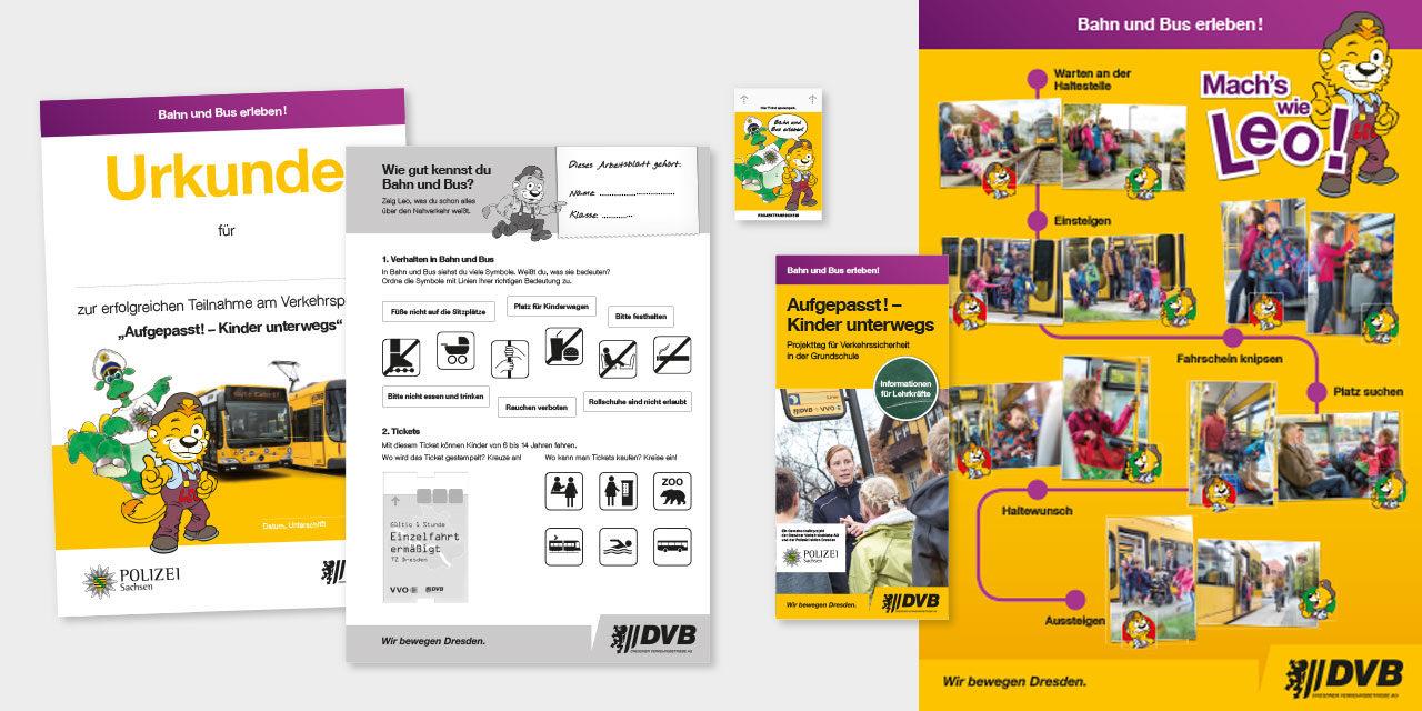 Für Klasse 1 und 2: Arbeitsblatt, Urkunde, Flyer, Poster und Fahrkarte