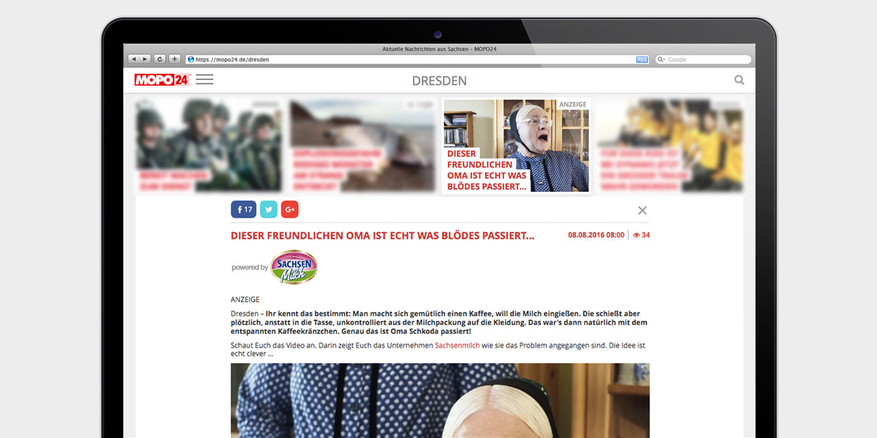 Advertorial – Quelle: Screenshot Mopo24