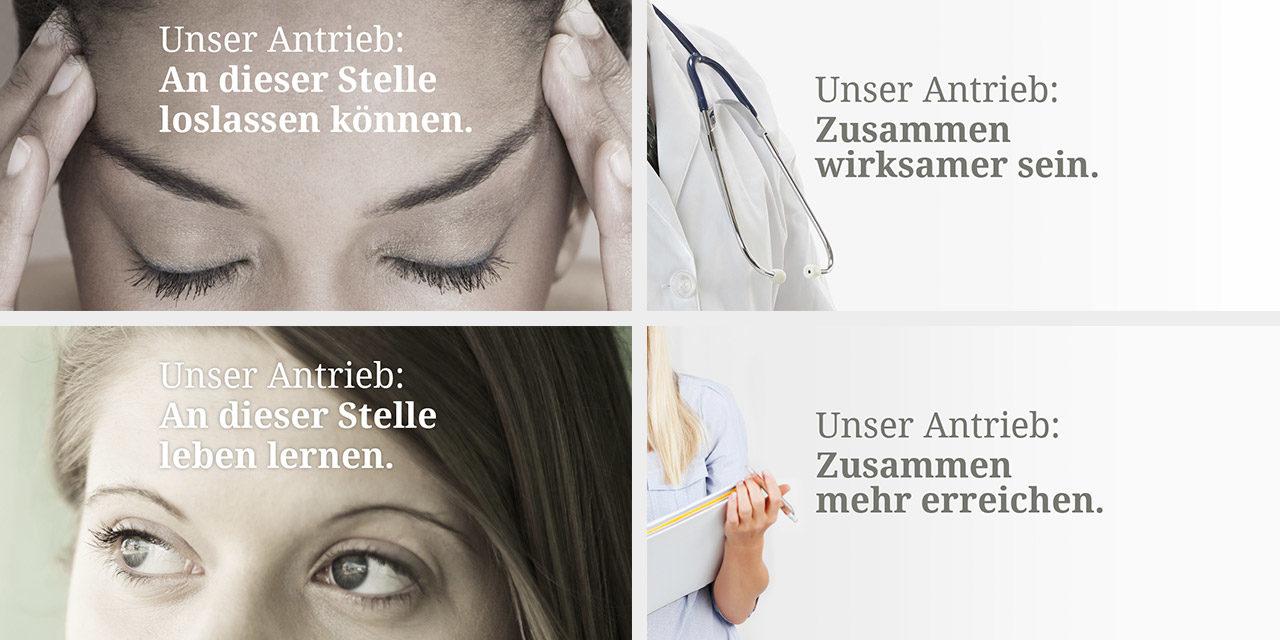 Keyvisuals für Patienten (links), Behandler (oben rechts) und Kostenträger (unten rechts)