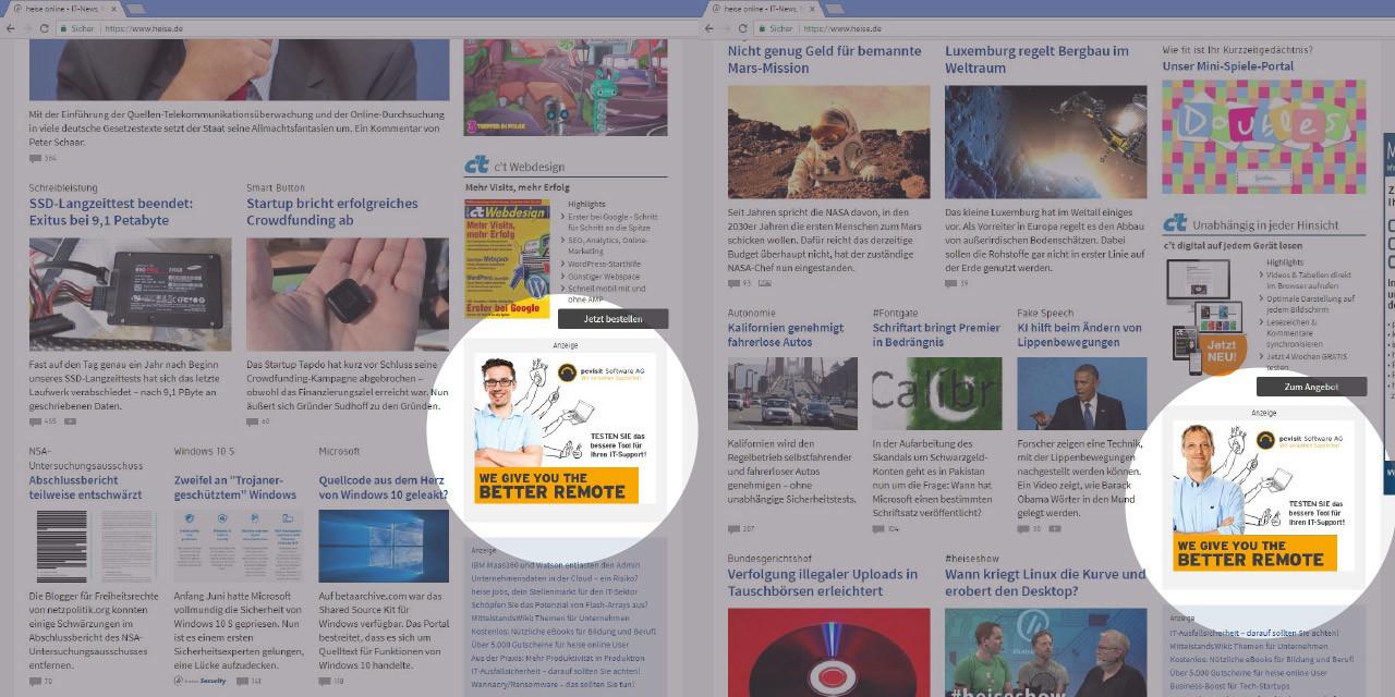 Anzeige bei www.heise.de