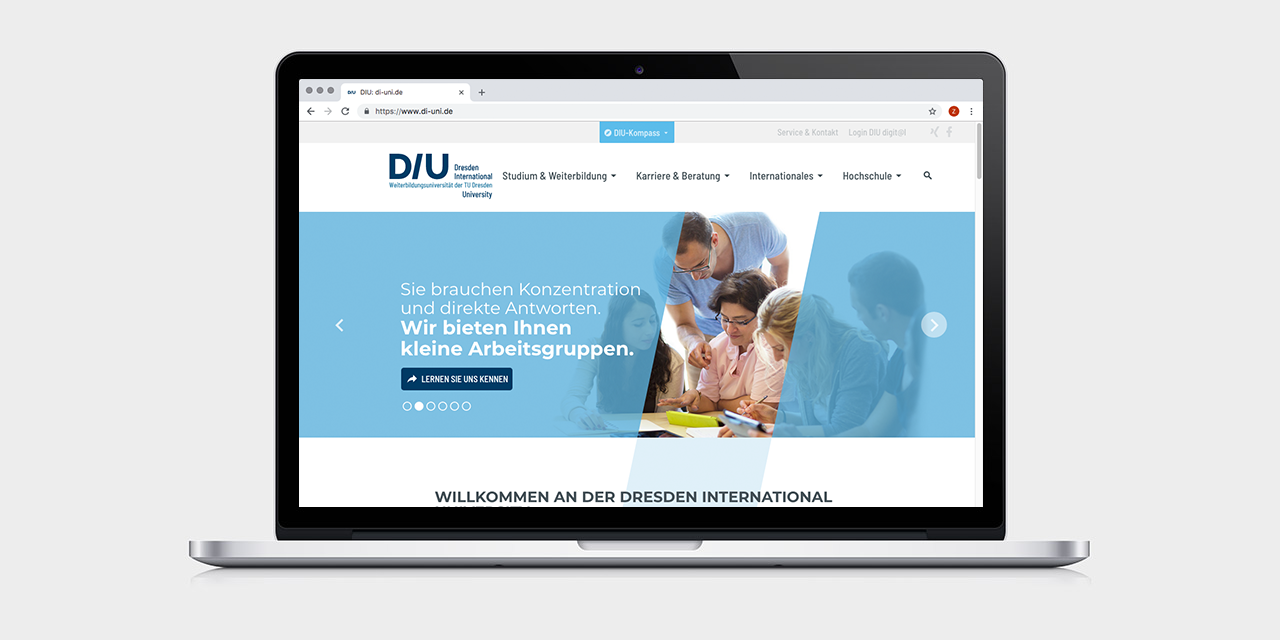 ... DIU-Website mit Kommunikationsmechanik