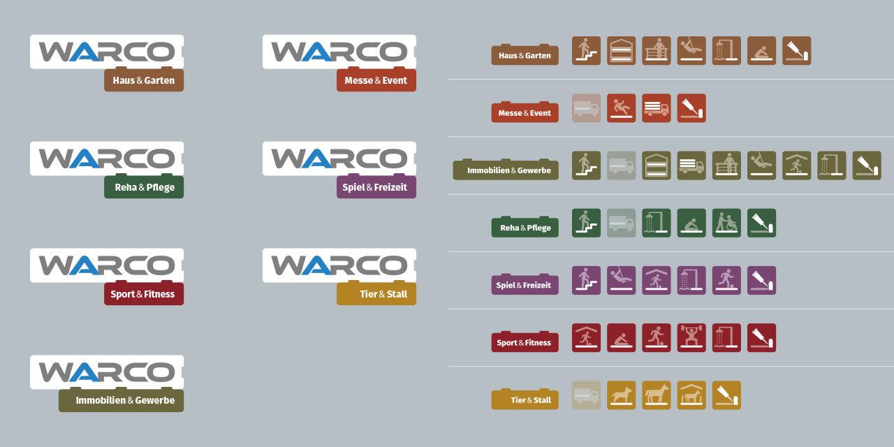 WARCO-Produktsparten mit neuer Ikonografie