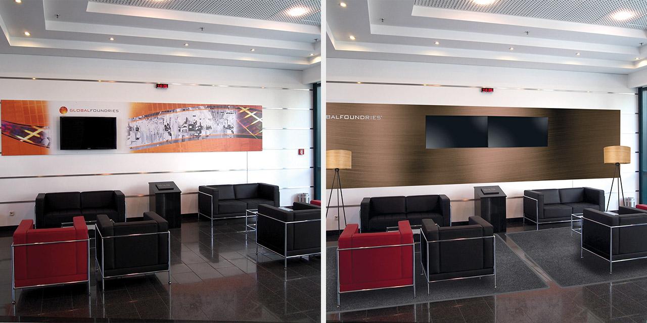 Umgestaltung der Lobby (vorher, nachher).